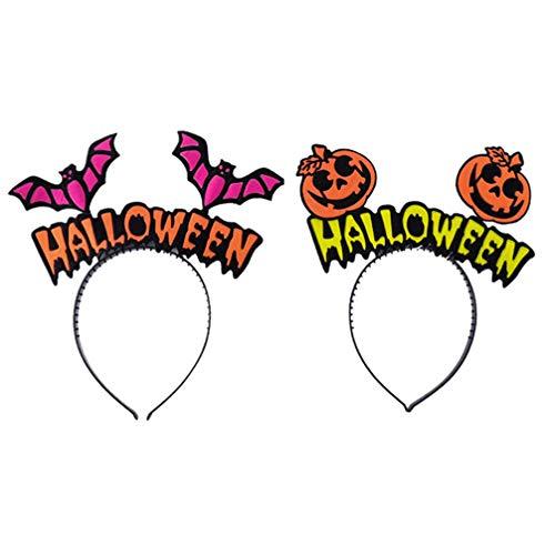 VALICLUD 2 Piezas Diadema de Halloween Calabaza Murciélago Aros para El Cabello Accesorios para El Cabello Horquilla Adorable Tocado Diademas Suministros para Fiestas