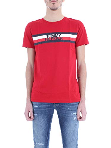 Tommy Hilfiger Tommy Logo Tee Maglietta, Rosso (Haute Red 611), Small Uomo