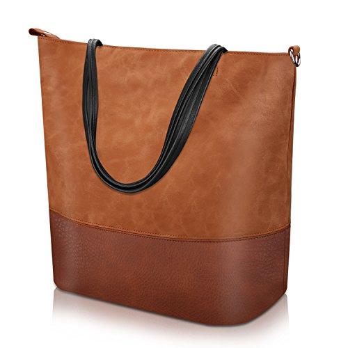 PROKING Umhängetasche Damen Soft Leder Damenhandtaschen Wasserdichte Groß Handtasche Reise Tägliche Funktionelle Mädchen und Damen Schultertaschen