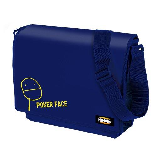 KOOKIE Sac à bandoulière temps libre MEME Poker Face bleu - Matériel: polyester 600 - bretelle régable, rabat avec fermeture Velcro - Intèrieur doublé et diviseur - Mesure: 36,5x9x29 cm.
