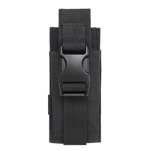 IPOTCH Poche Tactique Militaire Poche Lampe Torche Porte-Étui Sacoche de Taille Téléphone - Noir, 14x6cm