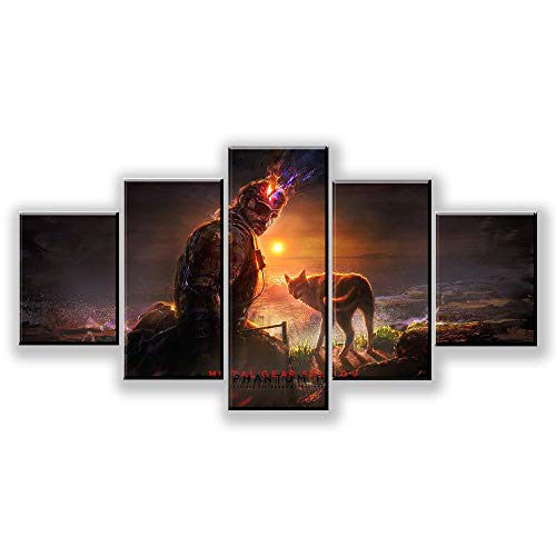 Eotifys CuadrosobreLienzo 5 Unidades HD Fantasy Art Soldier and Wolf Picture Metal...