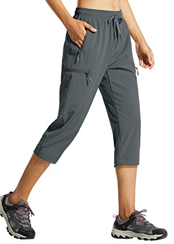 Libin Women's Quick Dry Hiking Capri Pants Lightweight Cargo Cropped Pants Water Resistant Outdoor Casual, Gray M