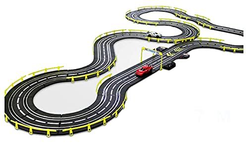 Grand piste de compétition électrique à double piste - Jouet de course télécommandé - Pour enfants - Grand véhicule à double fente - Jeu de course pour enfants - Couleur : électrique + 2 voitures