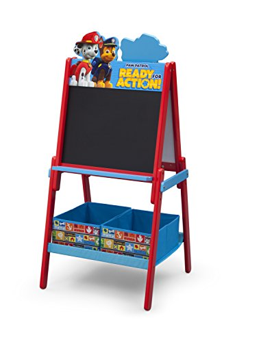 Delta Children Wooden Double-Sided Kids Easel with Storage -Ideal for Arts & Crafts, Drawing, Homeschooling and More, Nick Jr. PAW Patrol