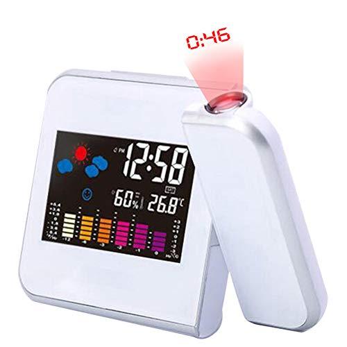 Digitaler Wecker, Zeitprojektion Digitaler Wecker LED-Anzeige Snooze Wanduhr Mit Wetterstation Thermometer Datumsanzeige USB,Weiß