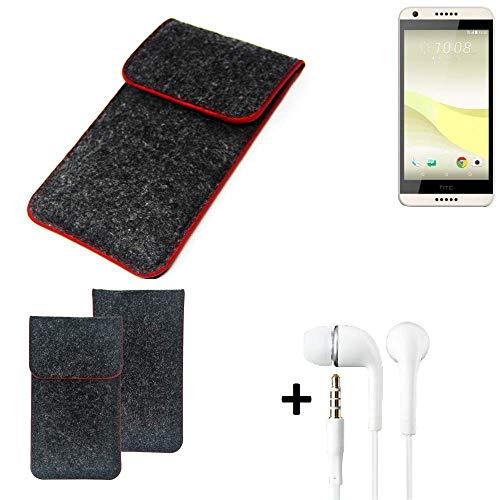 K-S-Trade Handy Schutz Hülle Für HTC Desire 650 Schutzhülle Handyhülle Filztasche Pouch Tasche Hülle Sleeve Filzhülle Dunkelgrau Roter Rand + Kopfhörer