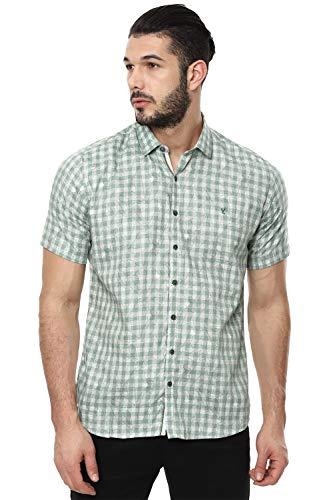 Van Heusen Men's Printed Slim fit Casual Shirt (VDSHESLF222515_Green 39)