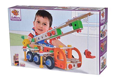 Eichhorn 100039094 Constructor Kranwagen vielseitiges Holzspielzeug, 170 Bauteile, 4 verschiedene Konstruktionen, FSC 100 Prozent zertifiziertes Buchenholz, für Kinder ab 6 Jahren