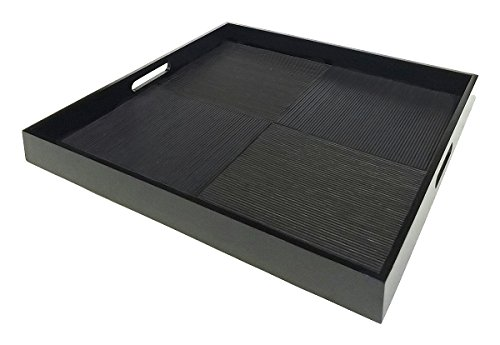 Simply Bamboo Black Square Ottoman Ribbed Bamboo Wooden Serving Tray | Home Decor | Party Serving | Decorative Coffee Tray - 20