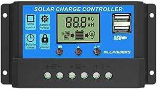 ALLPOWERS 20A Solar Charger Controller Solar Panel Battery Intelligent Regulator with USB Port Display 12V/24V