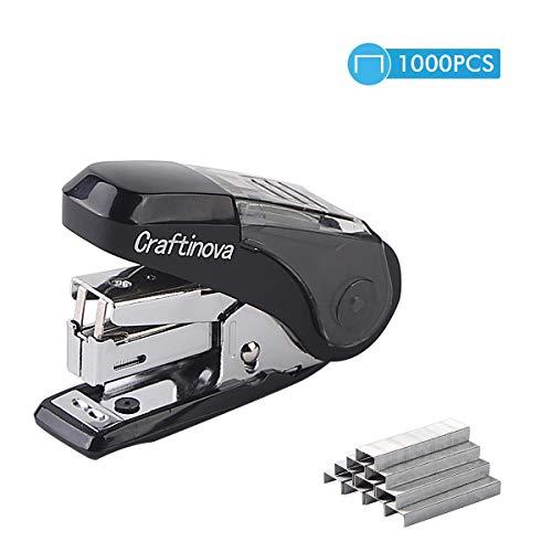 Craftinova Labor-Saving Mini Stapler Maximum, 20 Sheets Capacity, with 1000 Staples,Built-in Staple Remover and Staples Storage-Black