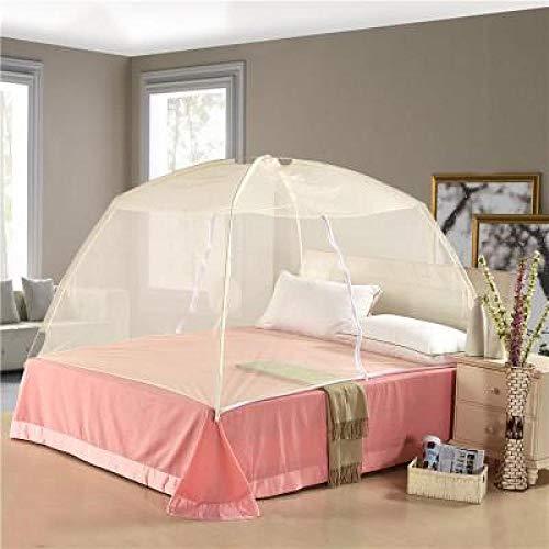Zomer dubbel gevouwen mesh insectenbed Mongolië muggennet muggen extra groot beddengoed luifel gordijn Dome Tent 150X200 cm Geel