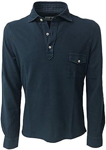 Della Ciana Polo Hommes Manches Longues avec Poche Mod 43370L Bleu Emporio 100% Coton Made in