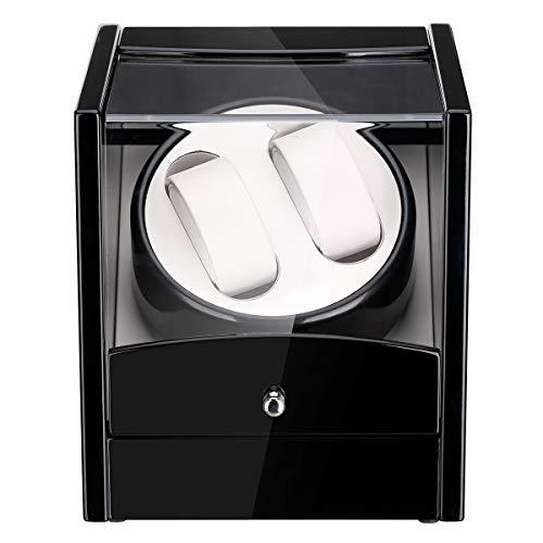 Uhrenbeweger für 2 Uhren Uhrenvitrine Uhrenbox für automatikuhren Watch Winder Mute Automatische Laufleise • Sichtfenster • weißer Samtkissen • Elegantes Design (2+0)