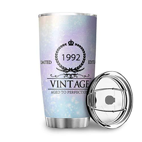 Taza de viaje de acero inoxidable 1992 con aislamiento duradero – taza de copa de vino con tapa blanca 600 ml