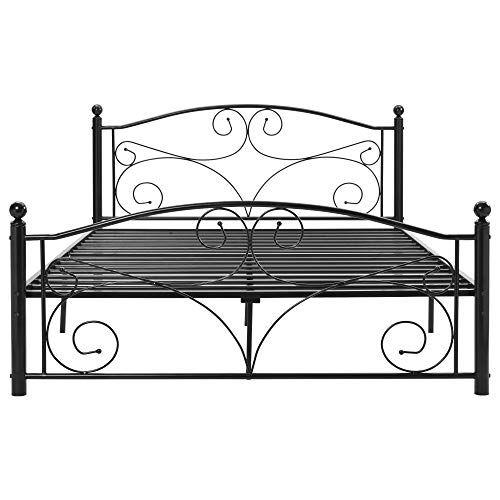 Double Bed Frame Solid Metal 4ft6 large storage space with Headboard & Footboard, for Adults Kids Teenagers, Suitable for Mattress(135 * 190cm)