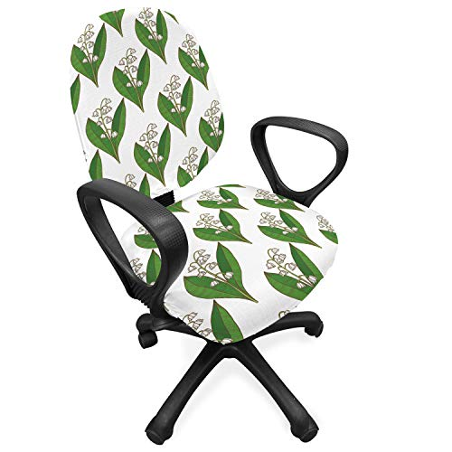 Lunarable Apothecary Office Chair Slipcover, Symmetric and Repetitive Pattern with Lily of The Valley Print, Protective Stretch Decorative Fabric Cover, Fern Green and White