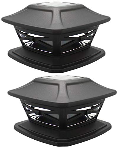 Davinci Lighting - Flexfit Solar Post Cap Lights - Fits 4x4 5x5 and 6x6 Post Fence or Deck Rail - Bright Outdoor Wireless LED Light - Slate Black (2 Pack)