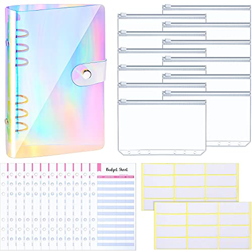 27 Pieces A6 Binder PVC Notebook Cover Binder Budget Envelopes System Budget Planner Organizer 6-Ring Binder Cover with Binder Zipper Pockets, Budget Sheets, and Labels (Multi-Colored)