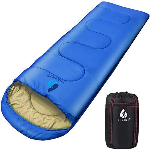 Yuanj Schlafsack Camping, 2 kg Ultraleicht Schlafsack für Erwachsene und Kinder, Wasserdichter Deckenschlafsäcke mit Kopfteil in Winter / 3-4 Saison