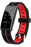 Tracker d'activité, montre intelligente, moniteur de fréquence cardiaque, moniteur de sommeil, pression artérielle, oxygène, podomètre, étanche, IP68 Rouge