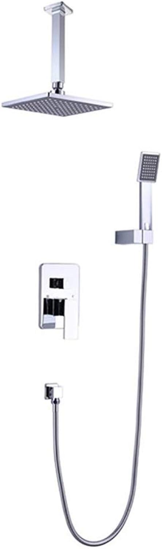 HUIJIN1 Duschsystem für die Wandmontage, Vierkant-Duschkombination mit Hochdruck-Regenduschkopf und Handbrause, Badezimmer-Duscharmatur (Mischventil im Lieferumfang enthalten)