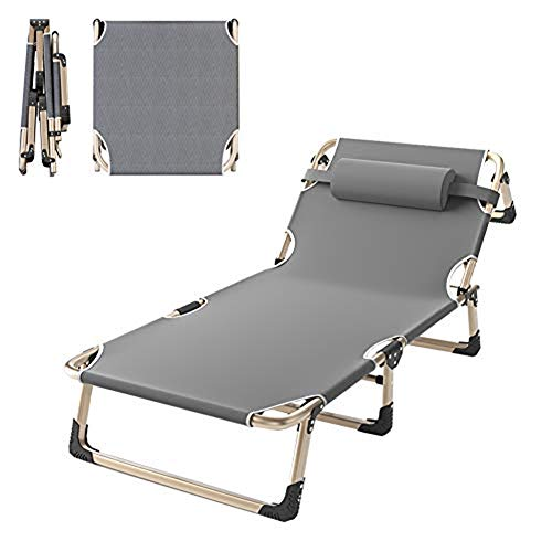 QSXF Weatherproof aluminum frame deck chair, folding garden lounger loadable 300kg, three-legged lounger with cushion sun lounger 5 times adjustable C,A