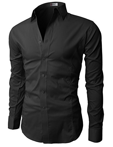 H2H Mens Wrinkle Free Slim Fit Dress Shirts with Solid Long Sleeve BLACK US L (Asia XXL) (JASK14)
