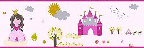 A.S. Création Bordüre Little Stars Borte Prinzessin 5,00 m x 0,17 m bunt rosa Made in Germany 358531 35853-1