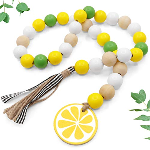 Huray Rayho Lemon Wood Bead Garland Farmhouse Rustic Beads with Jute Buffalo Plaid Tassles Yellow Lemonade Slice Summer Home Natural Country Chic Décor