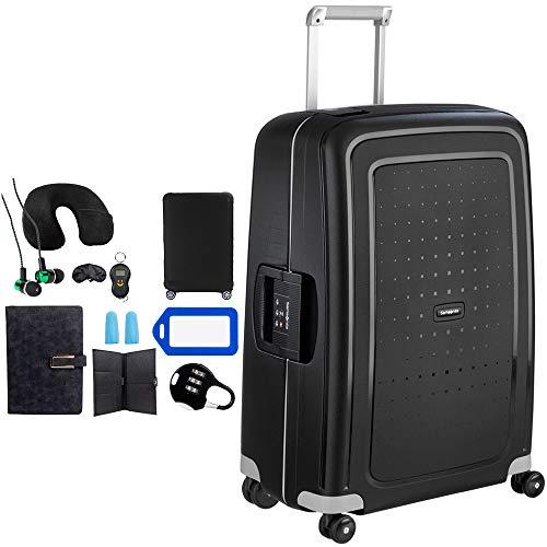 Samsonite 49308-1041 S'Cure 28 Inch Zipperless Spinner Luggage - Black Bundle w/Deco Gear Luggage Accessory Kit (10 Item)