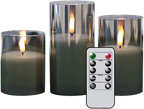 Eldnacele Gray Glass Flameless Candles Flickering with Remote, 3D Wick Battery Operated Realistic Warm Light Candle with Timer, Set of 3(D3'' x H4''/5''/6'') for Party Wedding Christmas Decoration
