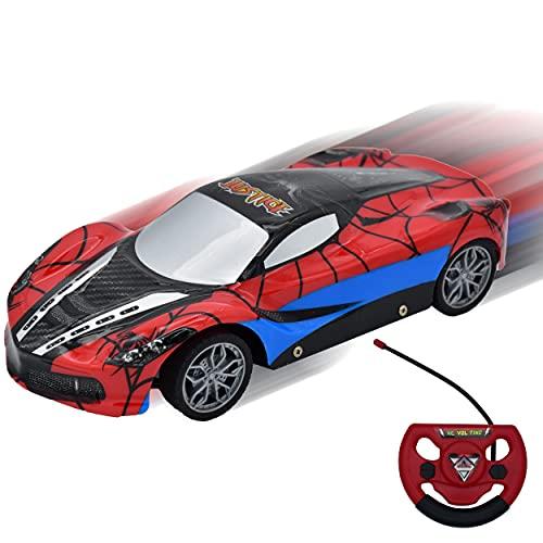 Coche de Carrera Teledirigido de Control Remoto, con Luz LED Jueguete y Regalo para niños + 6 años. (Spiderman)