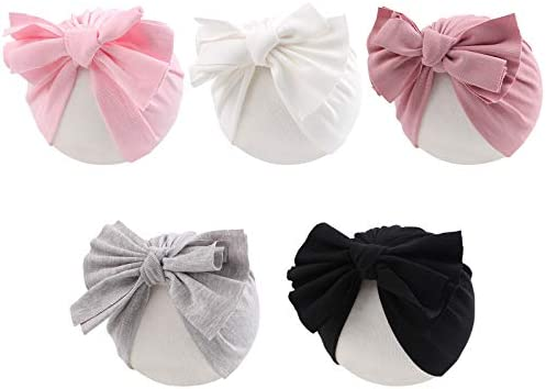 Baby Girl Turban Hat 5 Pieces Cotton Infant Girls Headwraps Toddler Soft Bow Hats 0 3 T Bow product image