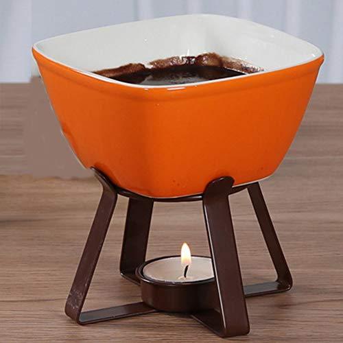 AIPZDJ Keramik Kerze Schokolade Käse Butter Fondue Einstellen mit 2 Gabeln Schokoladenbrunnen zum Küche Geburtstagsgeschenk Weihnachten Weihnachten Party,Orange