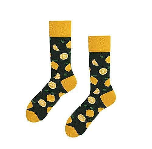 Morbuy Warme Socken, Unisex Bunt Gemusterte Mann Frau Trendy Atmungsaktive Weiche Dicke Lässige Socken Baumwolle Winter Outdoor & Indoor 2er-Pack (Zitrone)