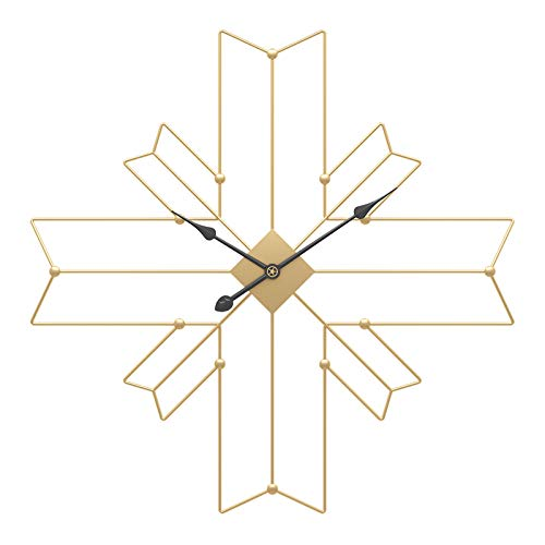 XLBHSH Large Metal Wall Clock, 24 Inches Silent Non-Ticking Wall Clock Cross Polygon Hanging Clock Golden Wall Clocks for Living Room/Kitchen/Office/School Clock,Gold