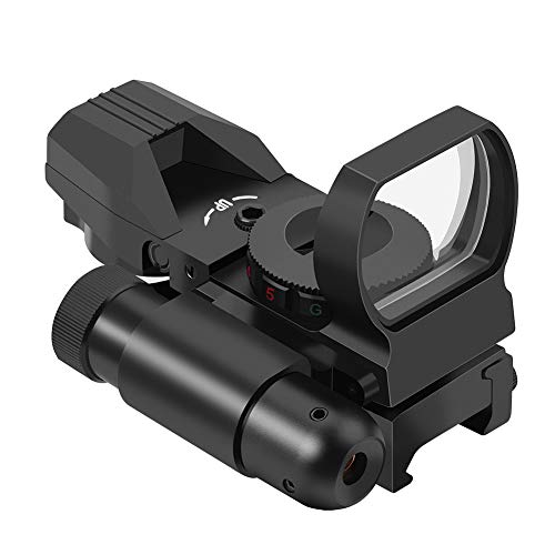 Feyachi RSL-18 Reflex Sight - 4 Reticle Red & Green Dot Sight Optics with Integrated Red La-ser Sight Less Than 5mW Output