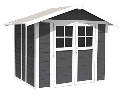 Ondis24 Gartenhaus Deco 2,42 x 2,02 m, Gerätehaus Kunststoff/Metall grau, Fahrradschuppen mit Satteldach, Geräteschuppen Outdoor, PVC Paneele, Doppeltür