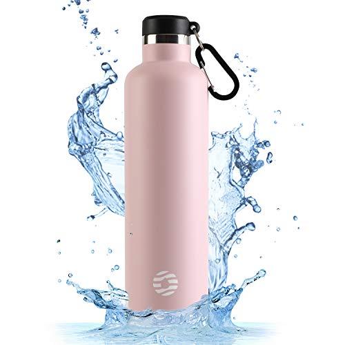 FJbottle Vakuum Isolierte Edelstahl Trinkflasche Wasserflasche - 750ml/1000ml BPA-frei auslaufsichere Sportflasche Thermosflasche mit Karabinerhaken, für Sport/Outdoor/Camping/Fitness/Yoga/Schule