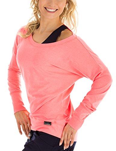 WINSHAPE Damen Longsleeve Freizeit Sport Dance Fitness Langarmshirt, neon-coral, M