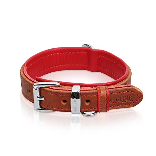 MICHUR Charly Hundehalsband Leder Braun Rot, Lederhalsband Hund, Halsband, Leder, in verschiedenen Größen erhältlich