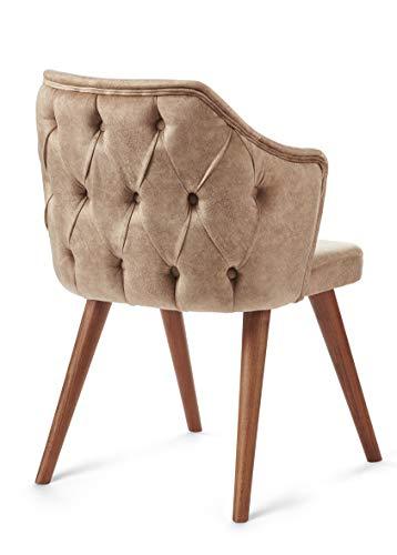 SOMESIT London Design Massivholzstuhl/Armlehnen Stuhl Vintage Sesselstuhl mit Raute Muster/Retro Esszimmerstuhl mit Polsterung/Wohnzimmerstuhl mit Stoffbezug (Creme-beige) fertig montiert.