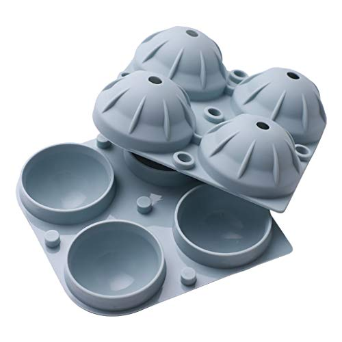 MULIN 4 Cavities Reusable Big Ice Ball Mold Make Ice, Ice Cream, Cakes, Biscuits, Boudin,Mousse, Jelly, Chocolate and Other Food Silicone Football Shape Mold Ice Tray