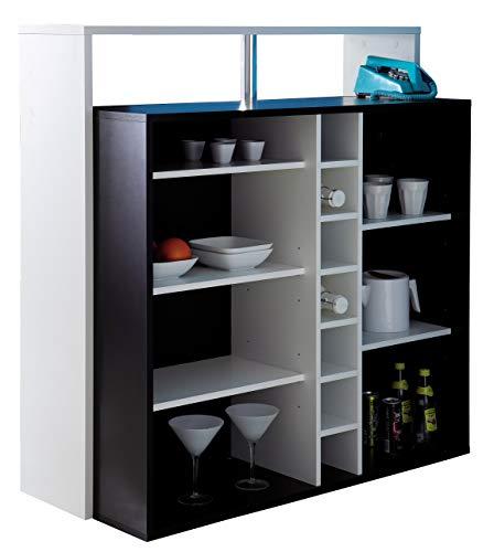 Miroytengo Mueble Bar Barra botellero y reposapiés Color Blanco y Negro Huecos y estantes 110x112x48