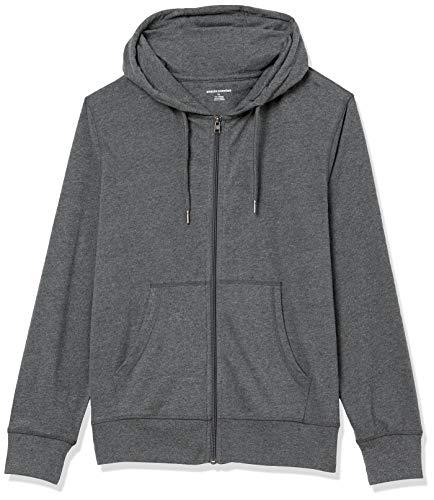 Amazon Essentials Lightweight Jersey Full-Zip Hoodie Fashion-Hoodies, Carbone Puntinato, US M (EU M)