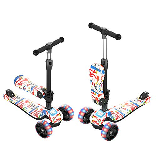 Airgymfactory 3 Wheels Kick Scooter for Kids and Toddlers Girls & Boys, 4 Adjustable Height with Removable Seat, Extra-Wide PU Flashing Wheels for Children Ages 2-12 Learn to Steer