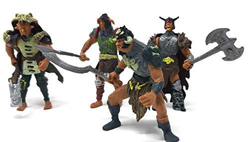 Brigamo 4 Stück Orks Figuren Set, Actionfiguren beweglich inkl. Waffen