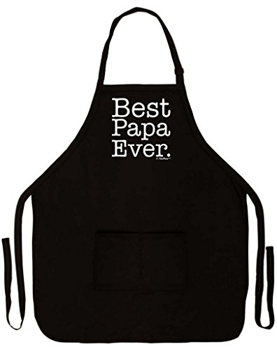 ThisWear Best Papa Ever Funny Apron for Kitchen BBQ Barbecue Cooking Baking Crafting Gardening Two Pocket Apron for Grandpa or Dad Black